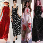 New Womens Long Maxi Evening Party Skirt Ladies Prom Chiffon Boho Dress Size8-20