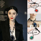Occident Style Set Auger Crystal Choker Bib Pendant Statement Ribbon Necklace