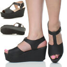 WOMENS LADIES HIGH HEEL WEDGE PLATFORM FLATFORM T BAR CLEATED SANDALS SIZE