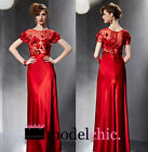 Red Satin Flowers Evening Prom Bridesmaid Ball Wedding Gown Maxi Dress