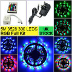 5M 3528 300 LED RGB SMD Strips Flexible Light 12V DC + IR Controller + Adapter