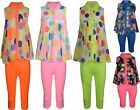 GIRLS LEGGINGS & BLOUSE TOP OUTFIT SET CIRCLES #58 BNWT