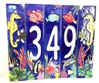 Aquatic Life Styled- Hand Painted Art Tile House Numbers