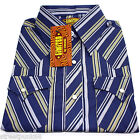 Chenaski Mens Cowboy Western Shirt Blue Stripes Rock n Roll White Pearl Snap