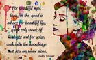 Audrey Hepburn Multi Size Canvas Wall Art Poster Print Painting Quote Sticker