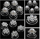 Lot 120PCS Wedding Bridal Crystal Pearl Swirl Twist Hair Pin Spin Pins For Women