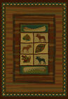 Lodge Cabin Rustic Moose Leaves Canoe Brown Green Decor Rug