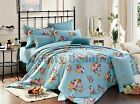 Chic Blue Roses Bedding Set: 1 Duvet Cover, 1 Fitted Sheet, 2 Pillowcases Queen