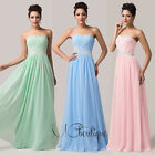 Mint Green Strapless Chiffon Prom Bridesmaid Wedding Maxi Dress Size AU6-20