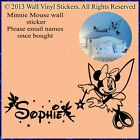 Minnie Mouse Fairy Wall Sticker Personalised Kids Children Name 10sm