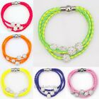 Leather Braided Wristband Cuff Magnetic Buckle Crystal Bead Bracelet 6colors