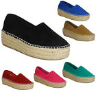 LADIES WOMENS THICK HIGH COMFY UK PLATFORM CASUAL PUMPS FLATS SUMMER SHOES SIZE