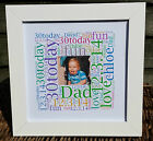 Personalised Birthday 'Square Picture' Word Art Gift dad daddy grandad gran
