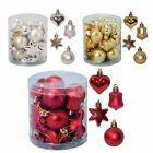 Christmas Tree Decoration 18 Multi Pack Star Heart Bell Baubles - 3 colours