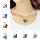 Lucky Four Leaf Clover Statement Rhinestone Crystal Heart Pendants Necklaces