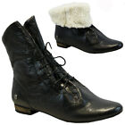 LADIES WOMENS LEATHER FLAT HEEL FUR ARMY BIKER WINTER ANKLE PIXIE BOOTS SHOES