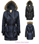LADIES PARKA JACKET QUILTED FUR HOODED ZIP WOMENS TOGGLE BUTTON COAT SIZE 8-20