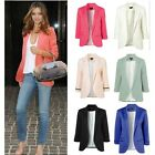 Hot Women 3/4 Sleeve Jacket Blazers Tops Candy Color OL Slim Jackets Suits Coat