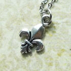 Fleur de Lis Pewter Charm on Plated Cable Chain New Orleans NFL Saints French