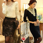 Womens Korean Lace Floral Slim Fit Tops Long Sleeve T-Shirt Blouse Casual Hot