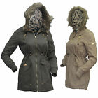 Ladies Twill Parka Military Washed Cotton Long Hooded Fur Trim Women Jacket Coat