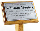 Oak Wooden Memorial Stake Cremations Burials 7x5 & Plaque Grave / Tree Marker