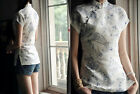 Clearance Promotion!! Chinese Gown Dress Cheongsam Top Linen Blue Lotus