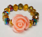 Peach Rose Faceted AB Citrine Disco Crystal Beaded Stretch Ring/MidiRing/ToeRing