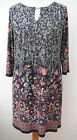 NEW M&S stretch jersey dress/tunic~Navy blue/white/pink floral~8 10 12 14 16