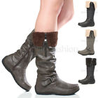 WOMENS LADIES FLAT LOW WEDGE HEEL FUR CUFF ZIP WINTER KNEE CALF BOOTS SIZE