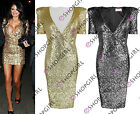 WOMENS LADIES CELEB SIMS ALLOVER SEQUINS WRAPOVER PADDED SHOULDER BODYCON DRESS