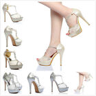 Fashion Womens Shoes Lace  Ankle Strap Peep Open Toe High Heels Heel