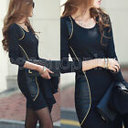 Women New Spliced Formal Sexy Slim Bodycon Basic Mini Dress Evening Party Dress