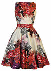 LADY VINTAGE HEPBURN Red Rose Floral TEA DRESS 1950s Retro Style SIZE 8-22