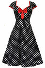 LADY VINTAGE ISABELLA DRESS Black Polka Dot Swing, Rockabilly, Flared SIZE 8-30
