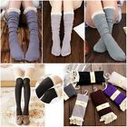 Crochet Lace Trim Cotton Knit Footed Leg Warmers Boot Knee High Socks For Women