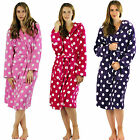 New Ladies Dressing Gown Luxury Womens Soft Hooded Bath Robe Fleece Housecoat