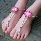 TODDLERS Kids Girls Beach Bridal Barefoot Sandals FUCHSIA PINK Frangipani flower
