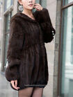 100% Real Knitted Mink Fur Long Coat Outwear Jacket  Fashion 5 Colors New Hoody