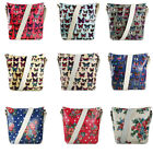 Ladies Oilcloth Waterproof Flower Mini Satchel Messenger Cross Body Shoulder Bag