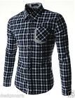 (CHS2) Men Snug Slim Fit Checker Pattern Chest Pocket Patched Long Sleeve Shirts