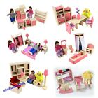Pink Wooden House Furniture Miniature 6 Room Set/4 Dolls For Kid Christmas Hot