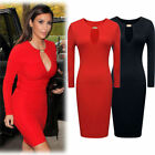 Womens Sexy Celeb Boutique Style Long Sleeve Cut Out Pencil Bodycon Party Dress