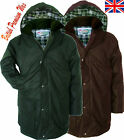 Mens British Wax Jacket Coat Padded Cotton Countryman Oilskin  Hunting Fishing