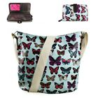 Ladies Blue Butterfly Flower Shoulder Crossbody Messenger Bag And Purse Gift Set