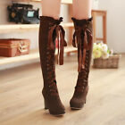 Womens Punk Faux Suede Over The Knee Thigh Thick High Heel Lace Up Boots Shoes 1