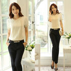 Women Elegant Slim Fit Ruffles OL Career Business Blouse Top Shirt Short Sleeve