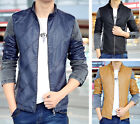 Men's Jeans Faux Leather Patch Stand Collar Zip Up Motorcycle Casual Jacket Coat