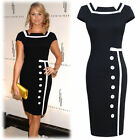Womens Navy Black Pencil Bodycon Ladies Tea Shift Evening Tailored Formal Dress