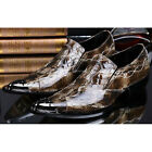 Casual GENUINE Leather Mens Pointy Toe Snakeskin SLIP-ON Loafer Business Shoes